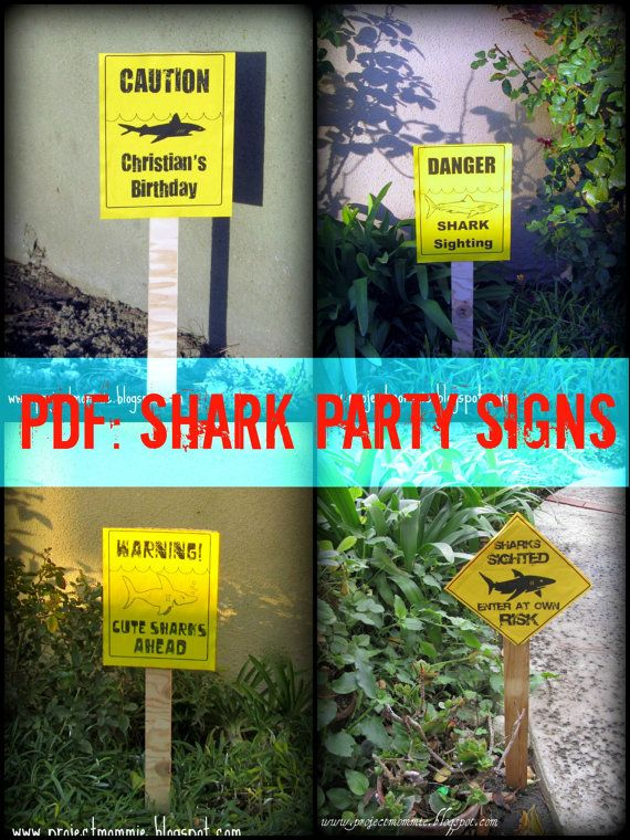 Shark Party Caution Signs