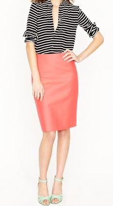 Love the black and white stripes + coral skirt.  Spring edginess with a pop of color works for me.