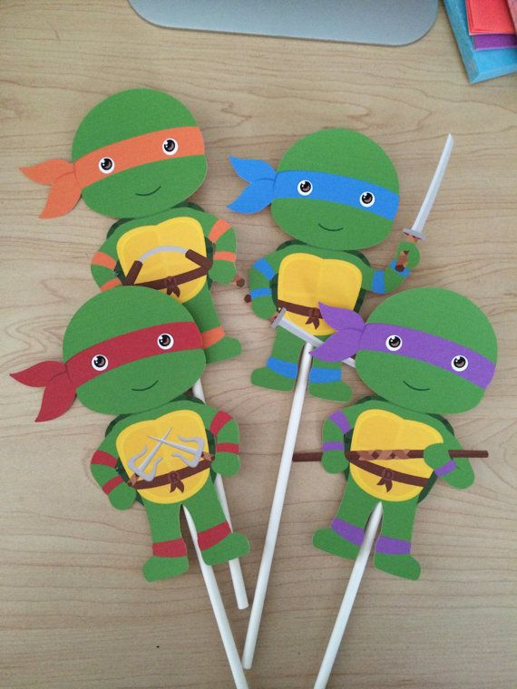 Teenage mutant ninja turtle centerpiece sticks by Verycraftymommy2