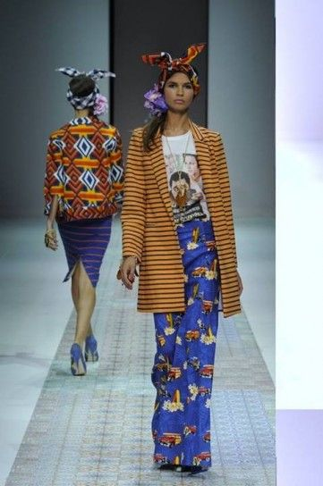 Cappottino e pantalone stampati Stella Jean