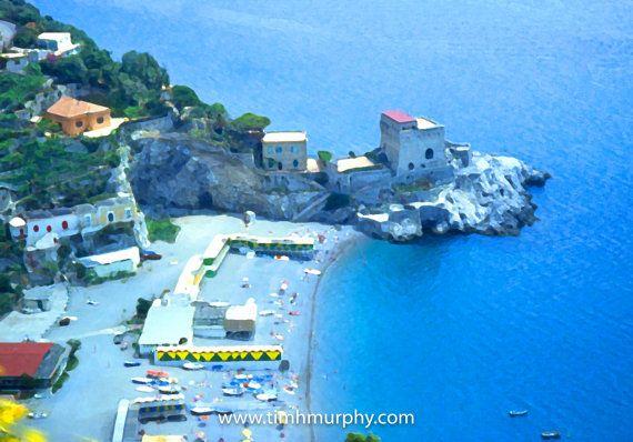 "Amalfi Beach - Stunning impressionist image of the beach at Amalfi, Italy.  Canvas print, 12""X18"""