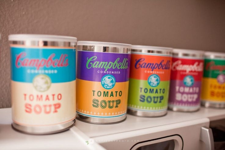 Campbell Soup (Warhol) Toy Cans & Free Printable!Pop Art, Soup Printables, Warhol Campbell, Campbell Soup, Soup Warhol, Printables Labels, Andy Warhol, Free Printables, Campbell'S Soup