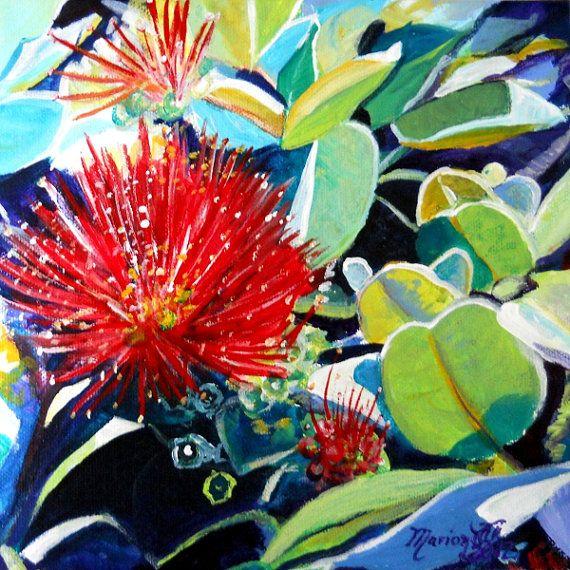 Red Ohia Lehua 8 x 8 Art Print de Kauai Hawaii de lave de menthe verte pour le volcan pele marionnette rouge