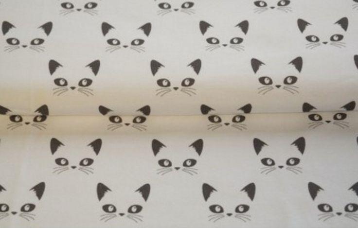 Stoff Tiermotive - Stenzo Stoff Jersey - Katzen weiß taupe  - ein Designerstück von bs-kreativshop bei DaWanda
