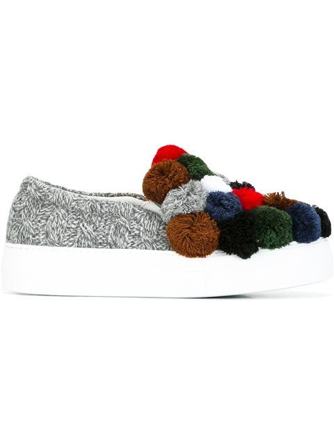 JOSHUA SANDERS pom pom slip-on sneakers. #joshuasanders #shoes #sneakers