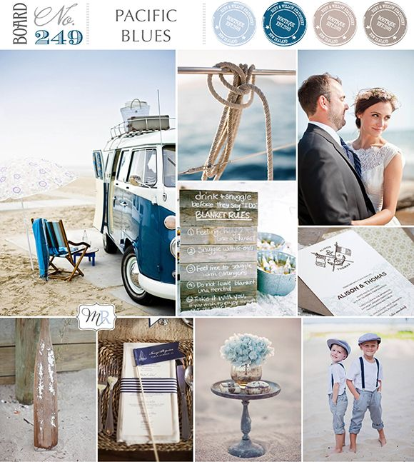 Pacific Blues Inspiration Board #beachwedding #beachweddinginspiration #blueweddinginspiration