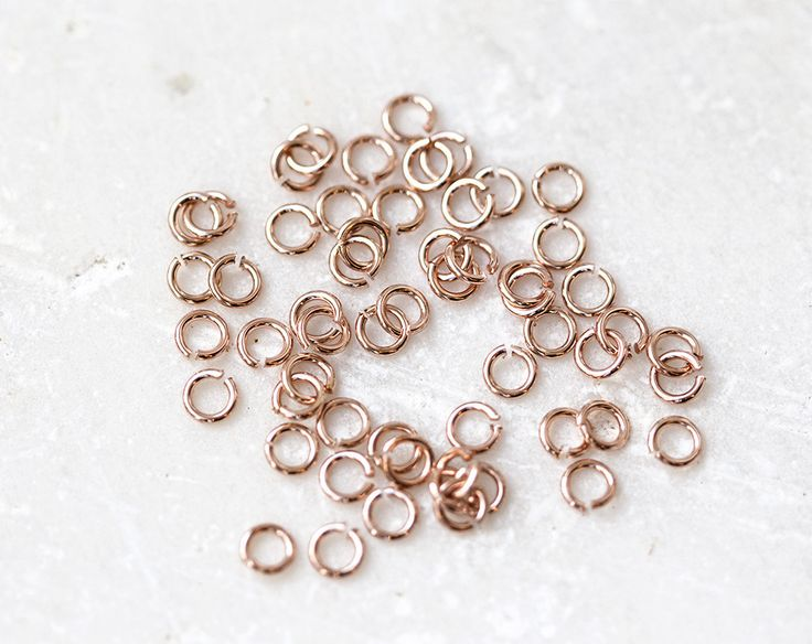 2174_Rose gold jump rings 2mmx0.6mm, Jewerly connectors, Open jump rings, Gold plated connector, Small gold jump rings, Steel jump rings_5g by PurrrMurrr on Etsy