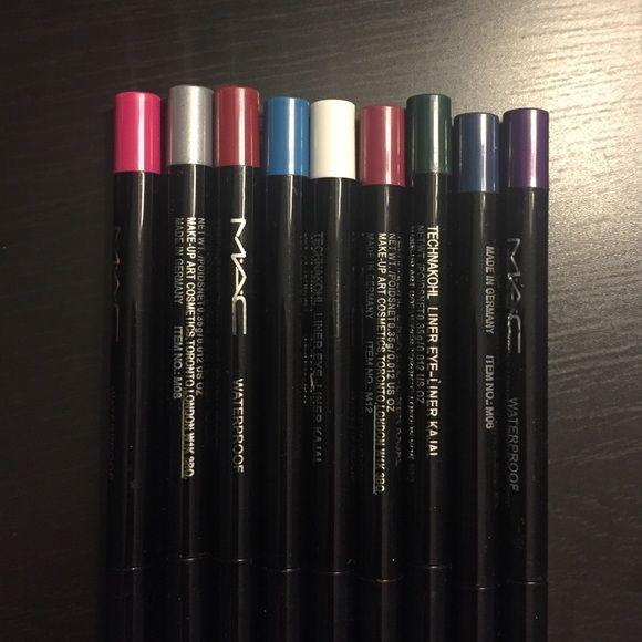 Mac eyeliner bundle Brand new, never used, never swatched MAC eyeliner bundle. 9 colors. You get them all! Water proof, technakohl, .35g. MAC Cosmetics Makeup Eyeliner