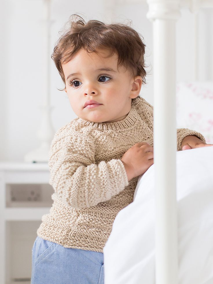 Isaac - This boys round neck sweater features in Little Rowan Cherish. Designed by Linda Whaley in Wool Cotton in features simple all over texture making it suitable for the knitter with a little experience.