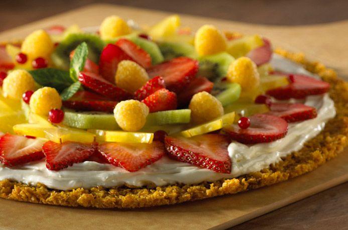 Fruit PizzaDesserts, Pizza Recipe, Fruitpizza, Fruit Pizzas, Food, Spring Recipe, Corn Flakes, Cream Cheeses, Fresh Fruit