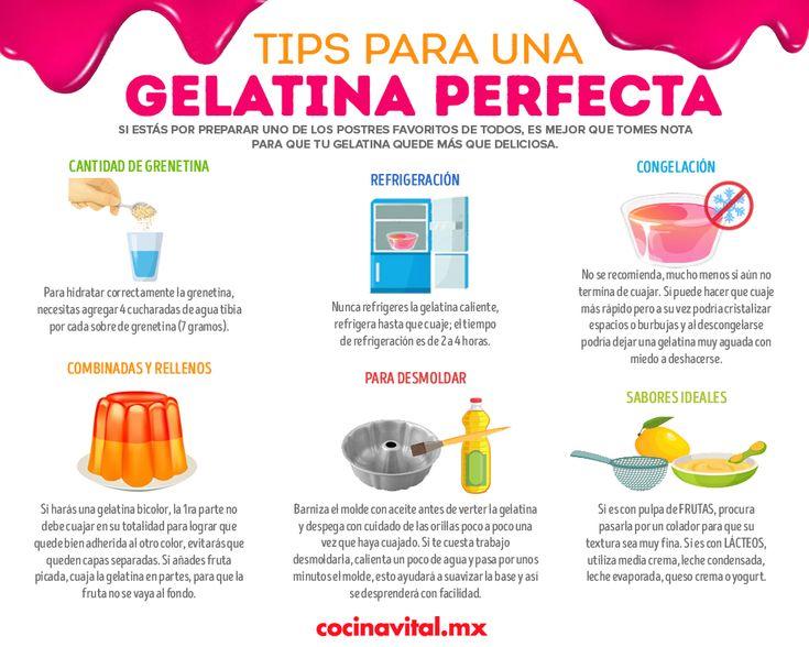 La clave para tener una gelatina perfecta es que sigas estos tips. Jello, Puddings, Sweet, Desserts, Vape Tricks, Kitchen, Amor, Kitchen Measurements, Gelatin