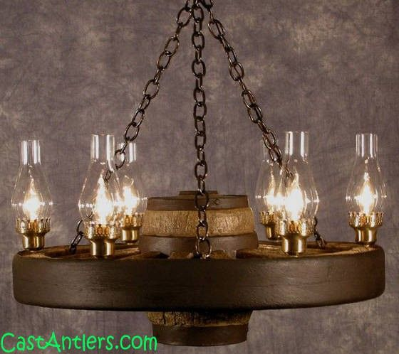"Wagon Wheel Chandeliers - 30"" Lantern Reproduction/Cast Wagon Wheel Chandelier 