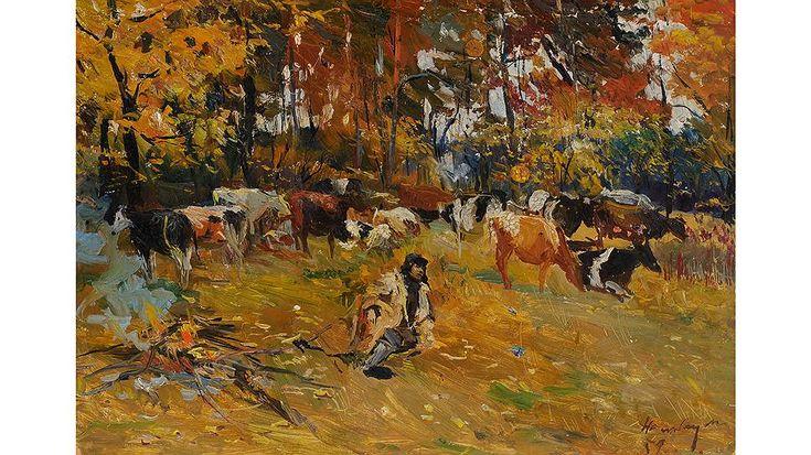 """Дмитрий Налбандян. """"Осенним утром у костра. Отдых"""", 1959 год"""