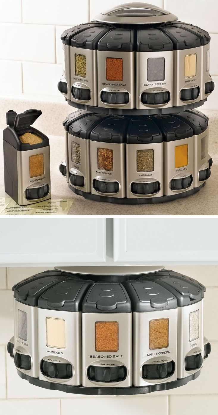 Space-Saver Spice Carousel With Built In Measurements <3 {You can stack them or mount under a cabinet}