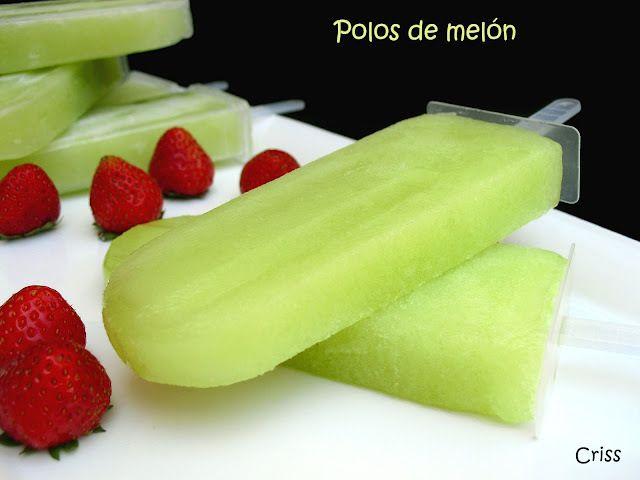 Polos de melon Ver receta: http://www.mis-recetas.org/recetas/show/37506-polos-de-melon #helados