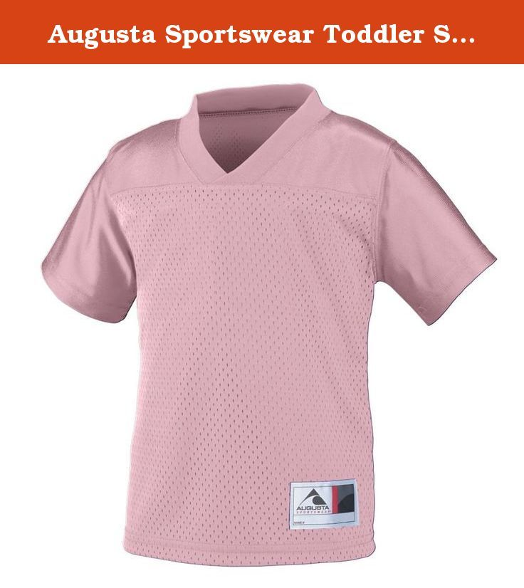 Augusta Sportswear Toddler Stadium Replica Jersey 2/3T Light Pink. 100% polyester tricot mesh * 100% polyester dazzle fabric yoke and sleeves * 1 x 1 rib-knit modified V-neck collar * Front and back large enough for embellishment * Set-in sleeves * Outside locker label is on wearer's left side near bottom hem * Double-needle hemmed sleeves and bottom * Not meant to be worn with pads * Also available in Men's Style 257, Women's Style 250, Boys' Style 258 and Girls' Style 251.