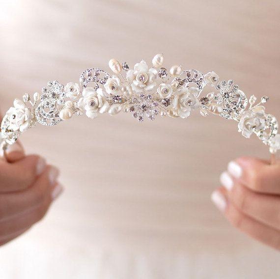 Diamantes de imitación y Tiara de novia accesorios por USABride