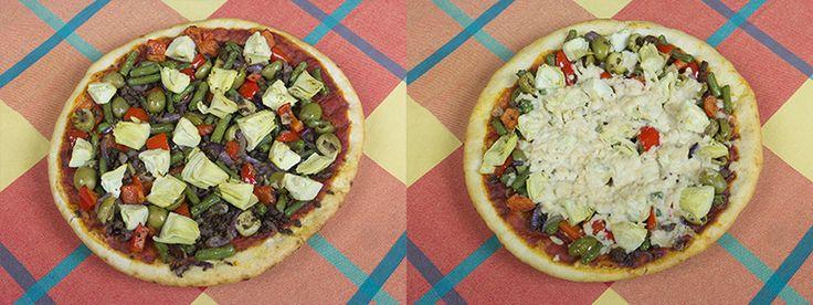 Vegan pizza met paprika, ui, sperziebonen, artisjok, olijven en tofugehakt | www.Alternatief-Idee.net
