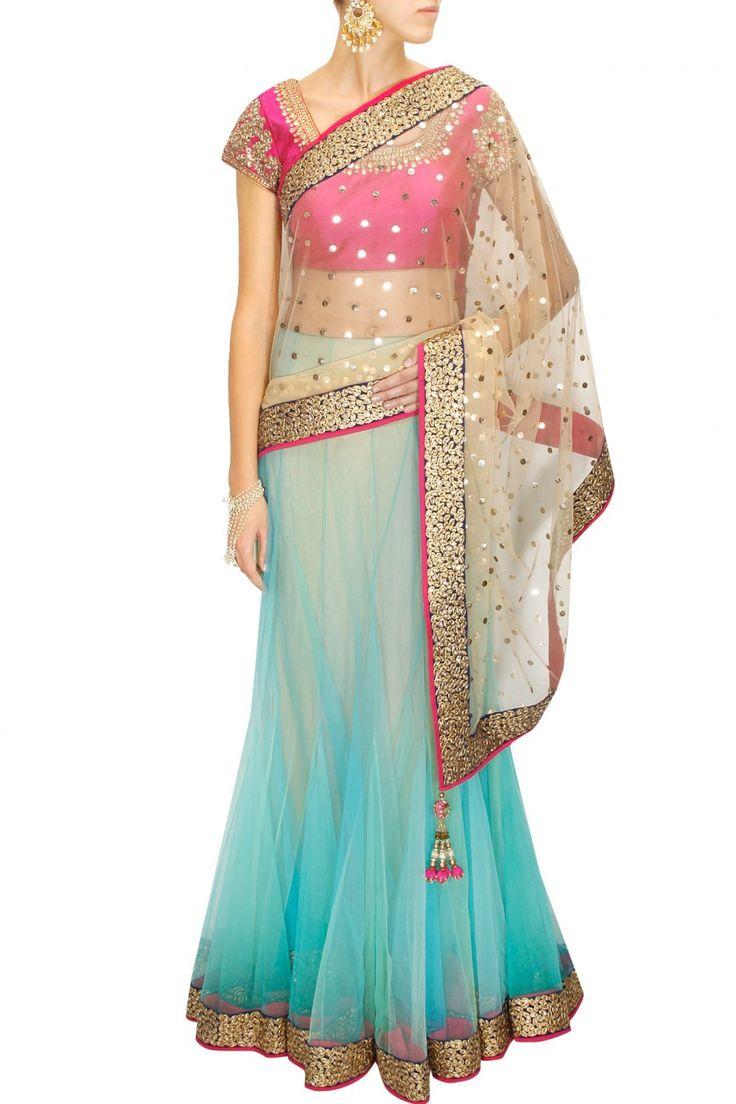 GREAT LENGTHS : Aqua and beige mukaish work kali sari with pink kundan blouse by Vikram Phadnis. Shop at www.perniaspopups... #designer #indian #vikramphadnis #couture #fashion #shopnow #perniaspopupshop #happyshopping