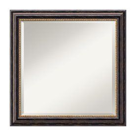 Amanti Art Tuscan Rustic 23.97-In X 23.97-In Distressed Black Beveled Square Framed Traditional Wall Mirror Dsw01486