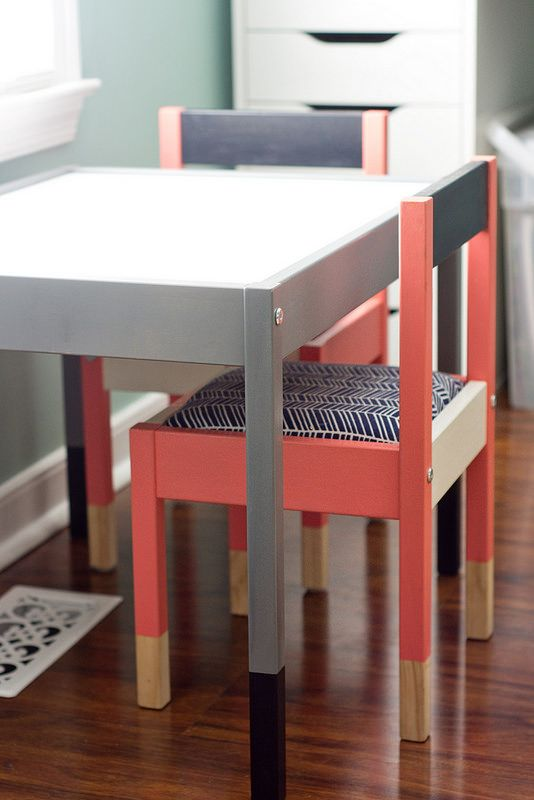 IKEA LATT table and chair hack (with padded chairs for those tiny tushes!) - looooove this!!