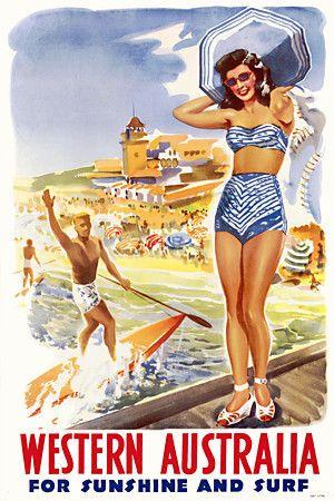 Western Australia  'For Sunshine & Surf'  Retro Australian travel print  http://vintagevenus.com.au/products/vintage_poster_print-tv917