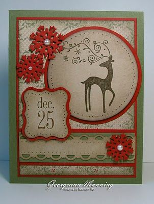 handmade Christmas card ... luv the woodsy country feel ,.. sponging ... yummy colors: Cherry Cobble, Always Artichoke, Crumb Cake ... designer paper ... red snowflakes with pearls ... silhouette deer with flourish anlters ,,, Stampin' Up!