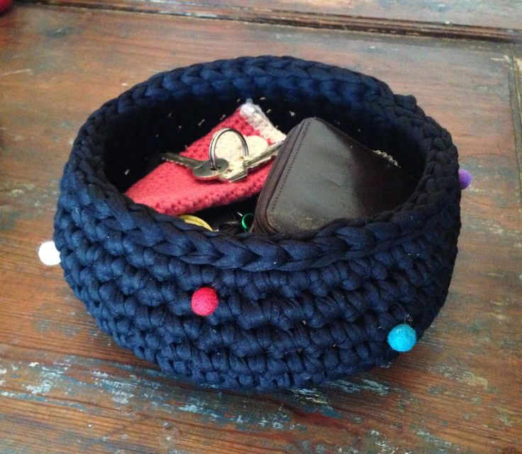 Made this basket from recycled strips of cut up t-shirts. Easy and fast.
