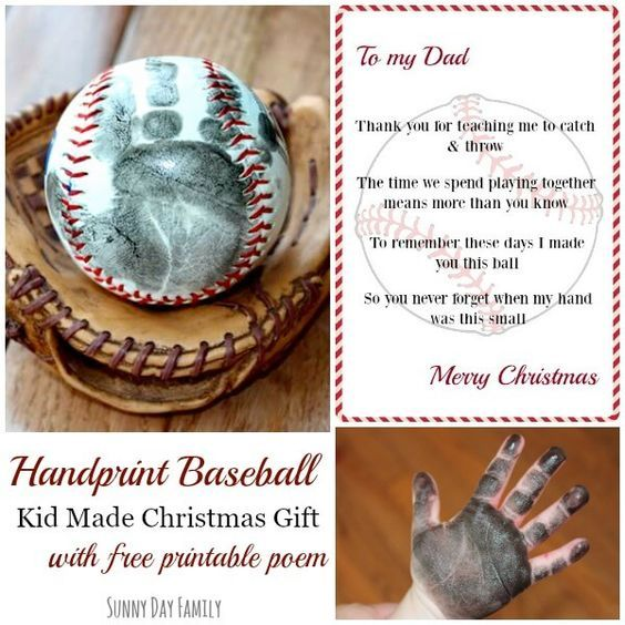 Make a Handprint Baseball - the perfect kid made Christmas gift for Dad. Surprise the baseball fan in your life with this sweet DIY keepsake gift.
