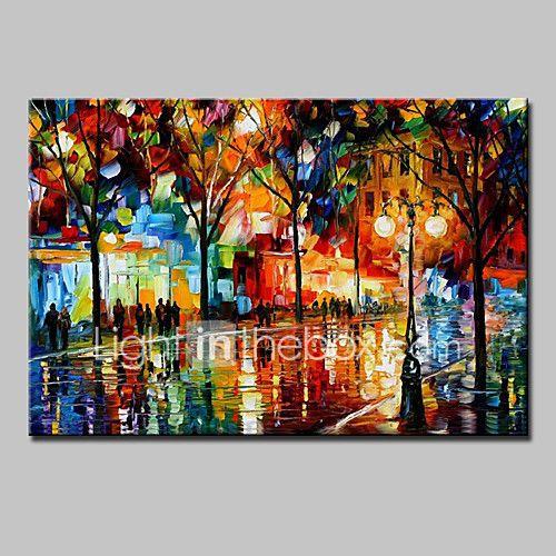 Pintados à mão Abstrato Paisagem Paisagens Abstratas Horizontal,Moderno 1 Painel Tela Pintura a Óleo For Decoração para casa de 2017 por R$215.44