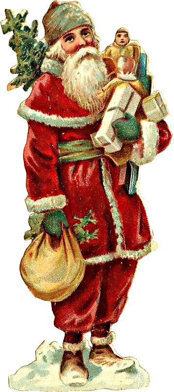 / santa with a bag of gifts / antique victorian christmas die cut /