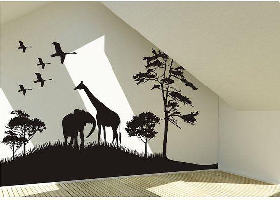 Safari Animals Wall Decal Africa giraffe and elephant Vinyl Wall Art Decal African Savanna Wall Decal birds wall decal on Etsy, $55.00