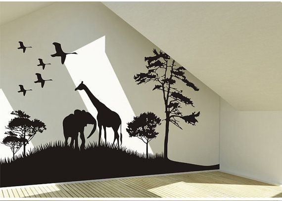 Safari Animals Wall Decal Africa giraffe and elephant Vinyl Wall Art Decal African Savanna Wall Decal birds wall decal on Etsy, $55.00