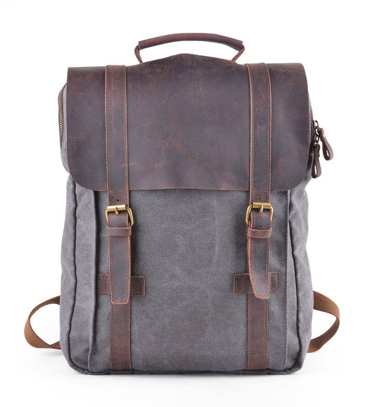 GOOTIUM Canvas Backpack Sac à Dos Loisir et Trekking pour Ordinateur  Portable 15,6 Pouces