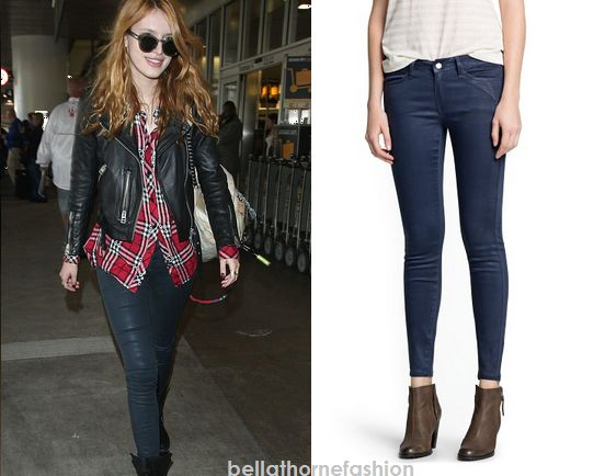 Bella Thorne wears these Mango Super Slim-Fit Coated Blue Jeans arriving at LAX on the 12th of November 2014.