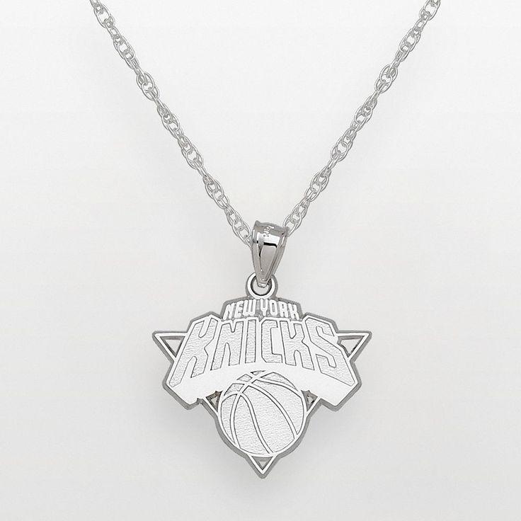 "New York Knicks Sterling Silver Logo Pendant, Women's, Size: 18"", Grey"