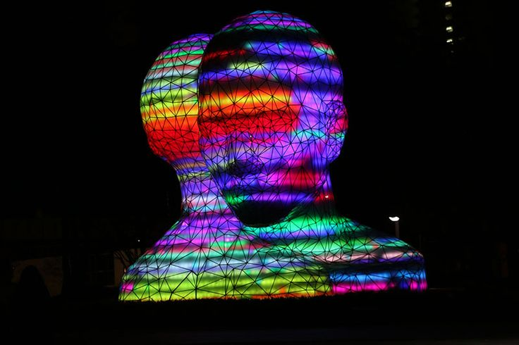 Sculpture at night in Star Park Korea