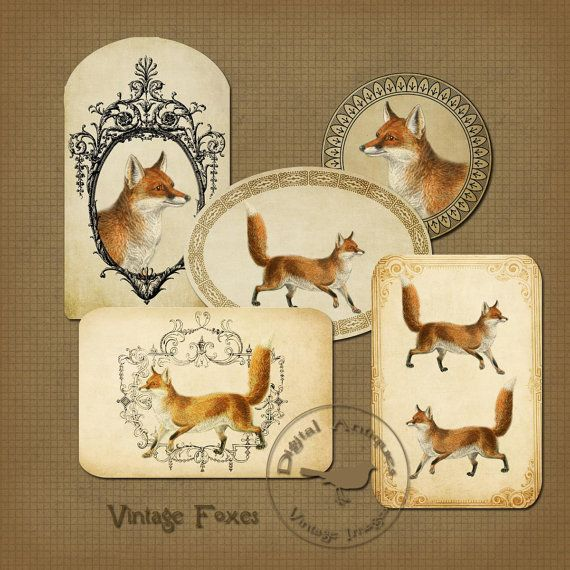 Vintage Fox Tags Printable Tags Instant Digital by DigitalAntiques, $3.75