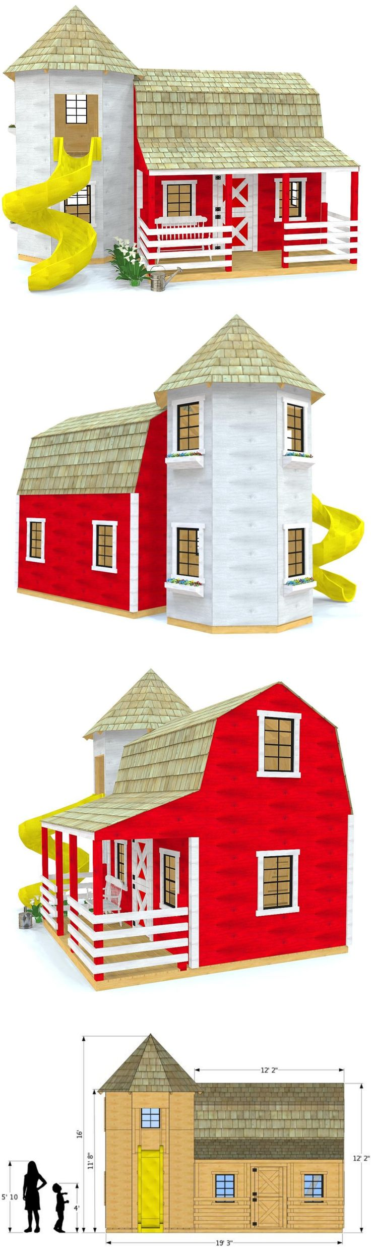 Barn silo playhouse plan tiny house pinterest for Barn and silo playhouse