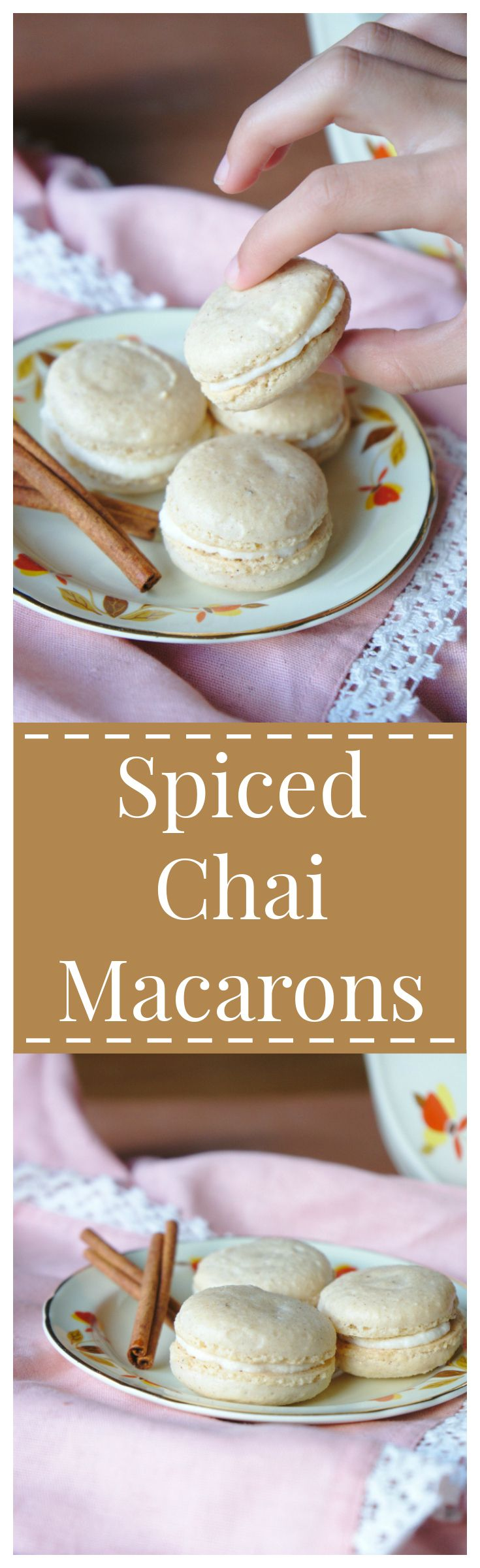 Spiced Chai Macarons – An elegant french dessert with a twist! These macarons are made with flavorful spices and a light vanilla buttercream filling!