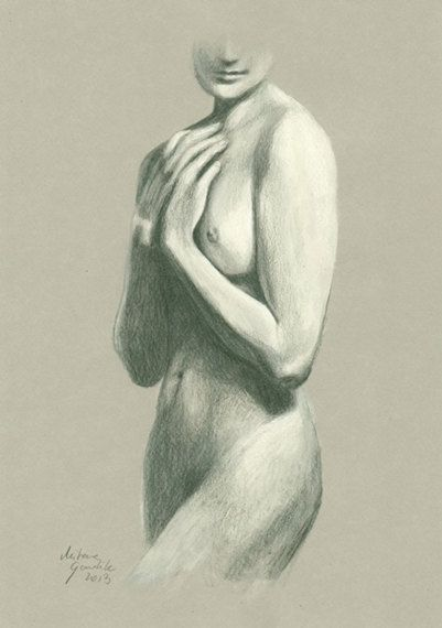ORIGINAL DRAWING Female nude 9 by Milena Gawlik  by MilenaGawlik