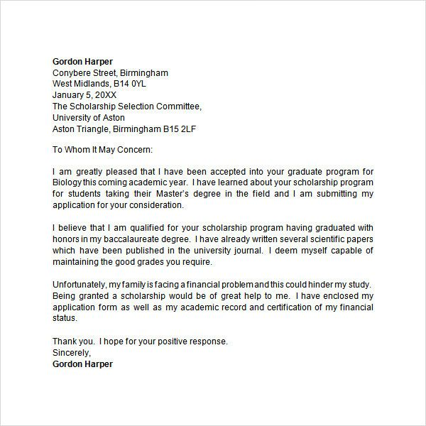 Letter For Scholarship Sample New Application 9 Free Doc Download Writing A Cover Aston University Personal Statement