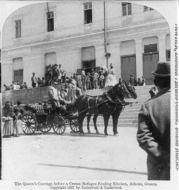 The Queen's carriage before a Cretan refugee feeding kitchen, Athens, Greece