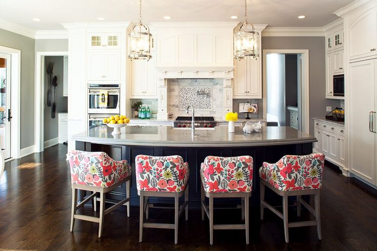 Floral Bar Stools Kitchen Traditional With Island Seating