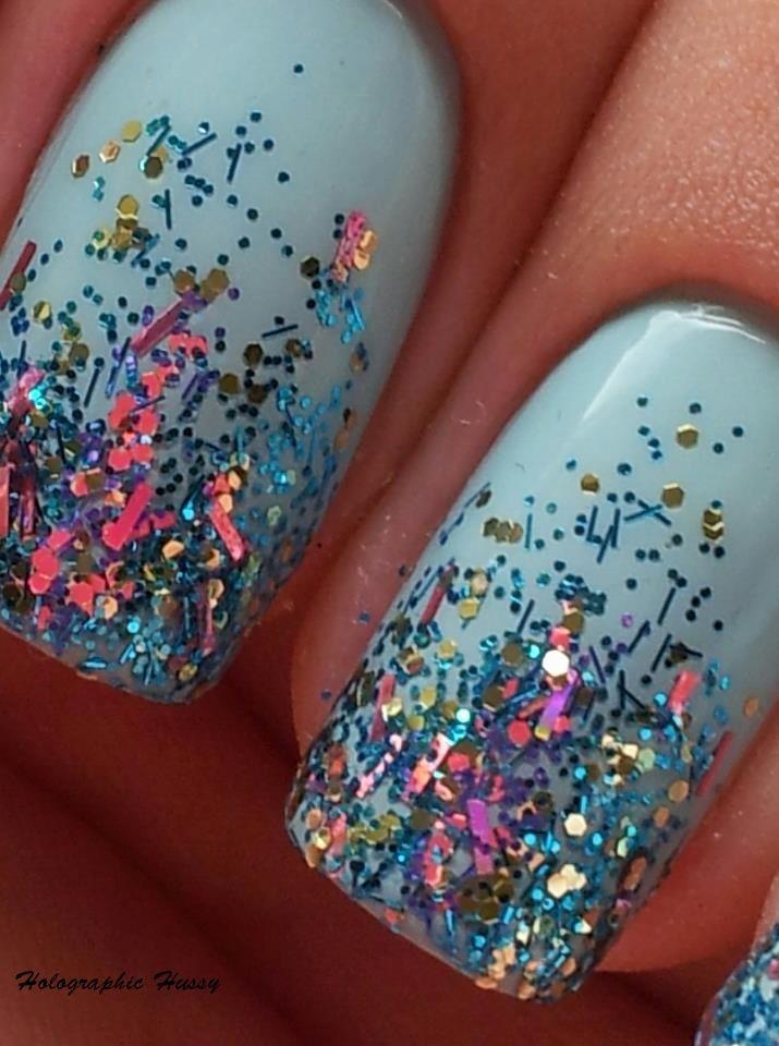 Powder blue glitter nails