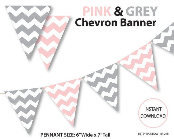 Printable banner, chevron banner, pink and grey chevron banner, printable banner, DIY party  - BR 218 on Etsy, $2.00