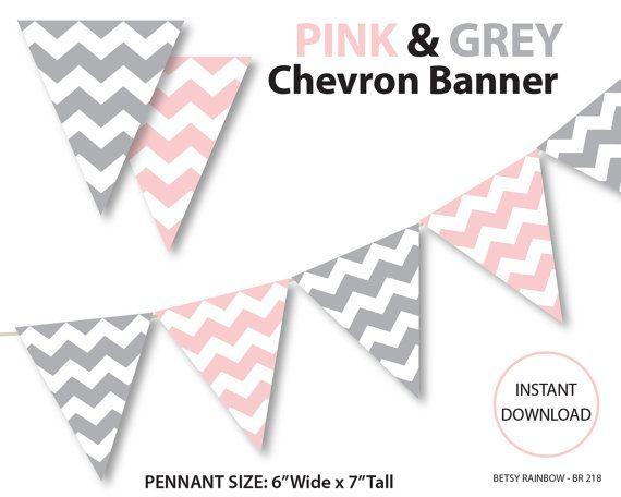 Printable banner, chevron banner, pink and grey chevron banner, printable banner, DIY party  - BR 218 on Etsy, $2.00