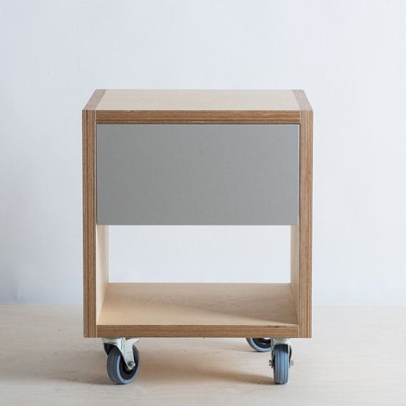 Storage / Side Table with Drawer on Wheels - Baltic Birch Plywood                                                                                                                                                     More