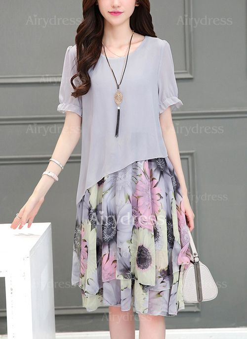 Dress - $22.39 - Chiffon Floral Short Sleeve Mid-Calf Casual Dresses (1955125570)