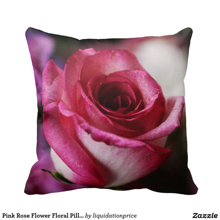 Pink Rose Flower Floral Pillow